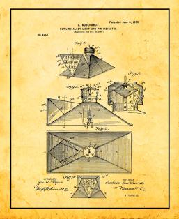 Bowling Alley Light And Pin Indicator Patent Print
