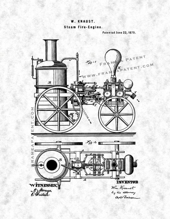 Steam Fire Engine Patent Print Poster Item12861 Frame A Patent