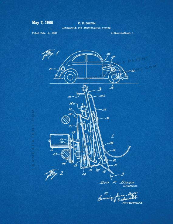 Automobile Air Conditioning System Patent Print - Blueprint (5x7)