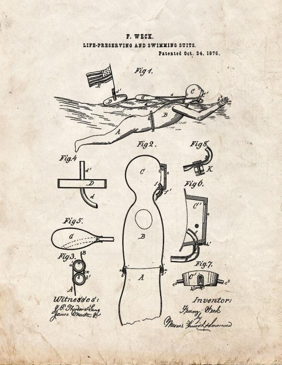 Life Preserving And Swimming Suits Patent Print