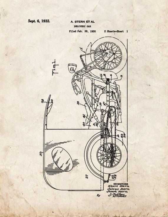 Delivery Car Patent Print