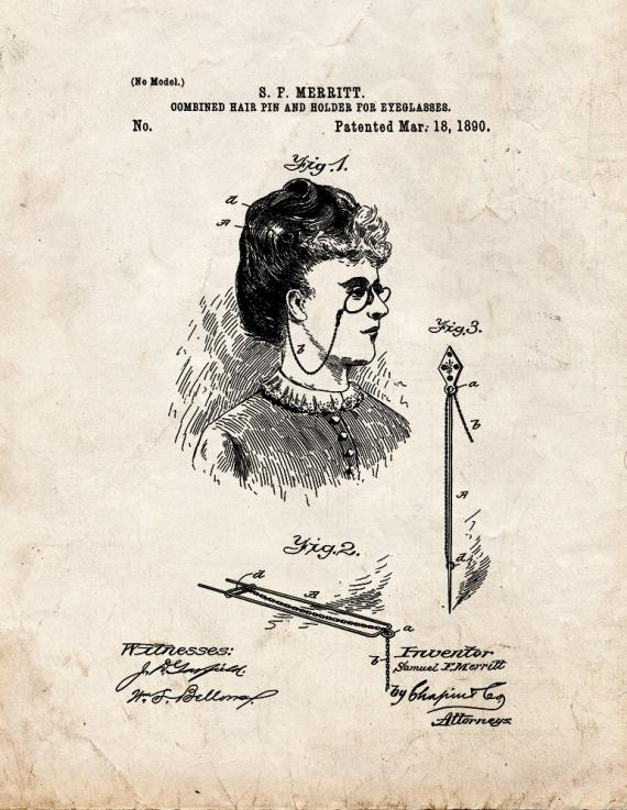 Combined Hair Pin And Holder For Eyeglasses Patent Print