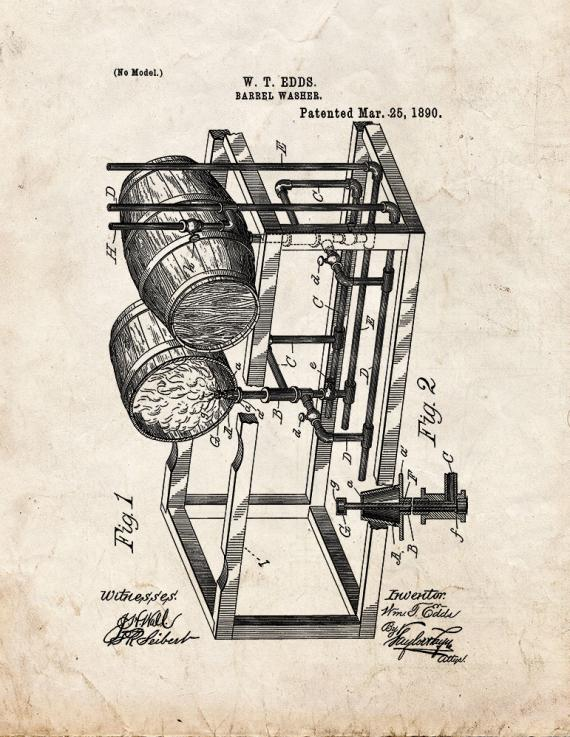Barrel Washer Patent Print
