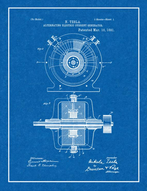 Tesla Alternating Electric Current Generator Patent Print