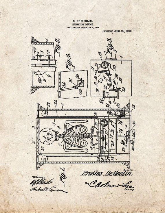 Moulin Initiation Device Magic Patent Print