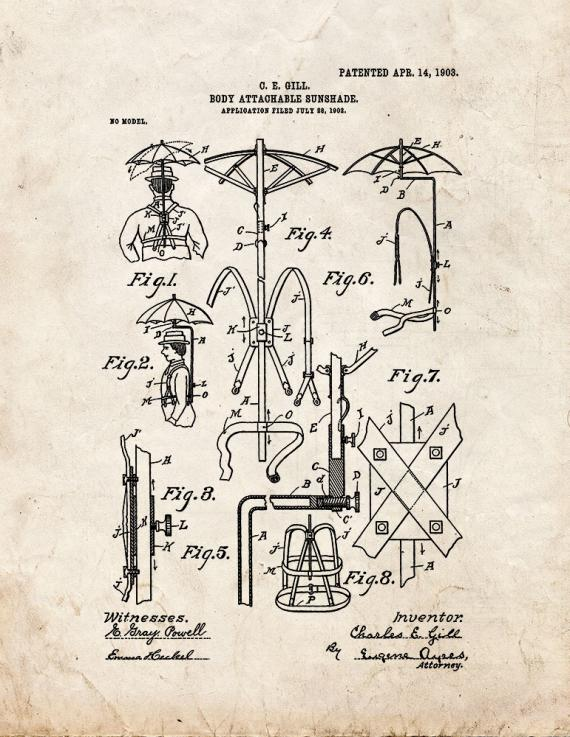 Body-attachment Sunshade Patent Print