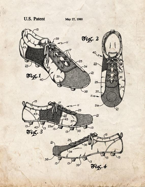 Training Shoe For Soccer Patent Print