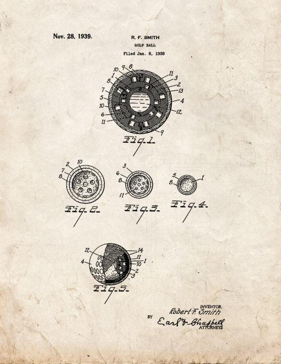 Golf Ball Patent Print