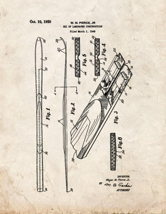 Ski Of Laminated Construction Patent Print