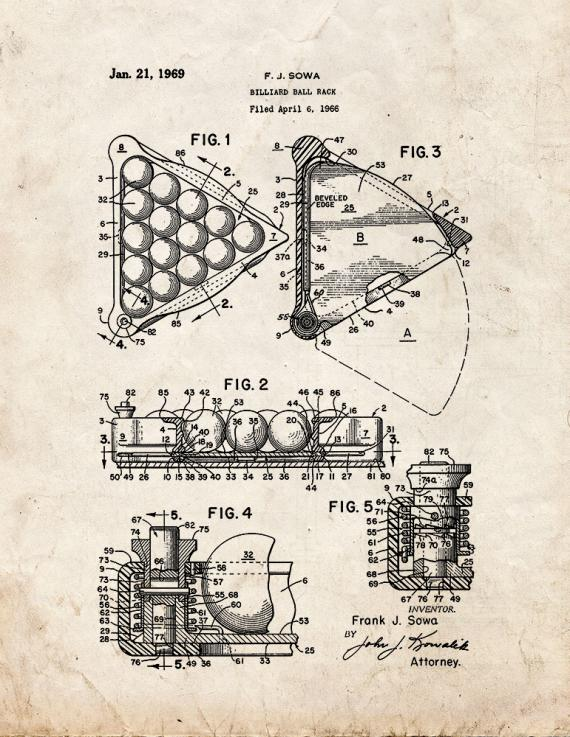 Billiard Ball Rack Patent Print