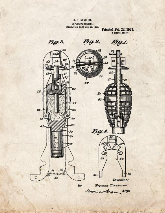 Explosive Missile Patent Print
