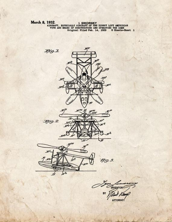 Aircraft Of The Direct Lift Amphiblan Patent Print