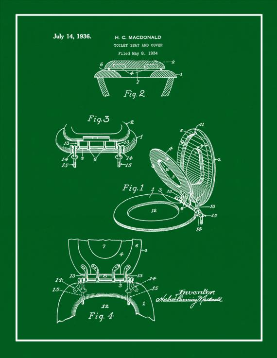 Toilet Seat And Cover Patent Print