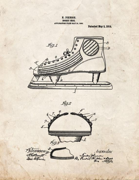 Hockey Shoe Patent Print