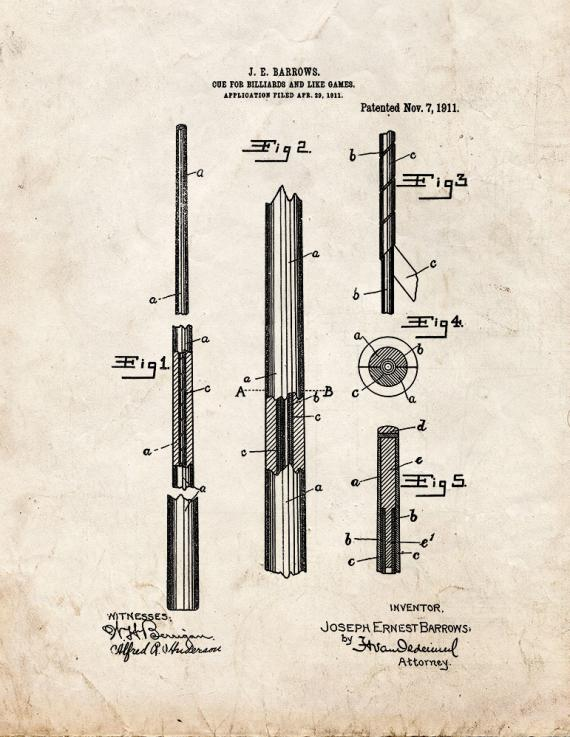 Cue For Billiards And Like Games Patent Print