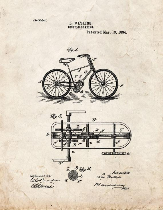 Bicycle Gearing Patent Print