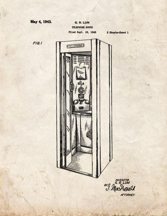 Telephone Booth Patent Print