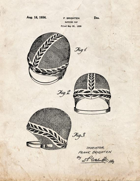 Bathing Cap Patent Print