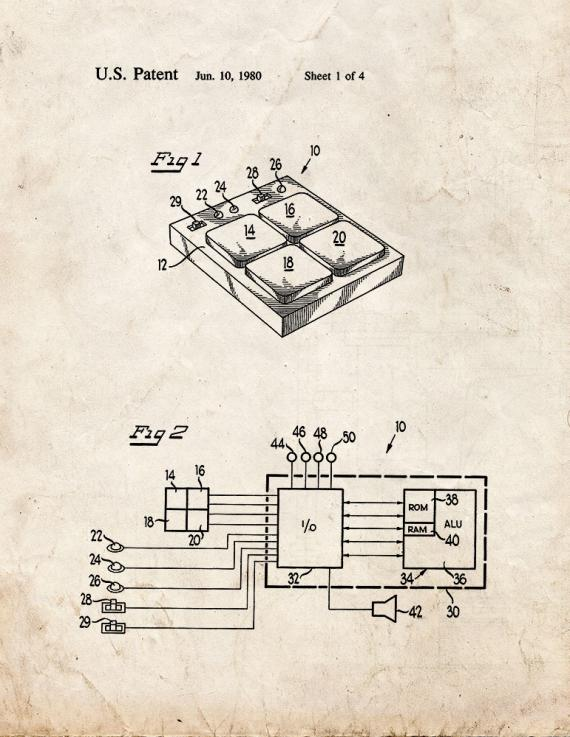 Microcomputer Controlled Game Patent Print