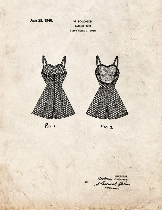 Bathing Suit Patent Print