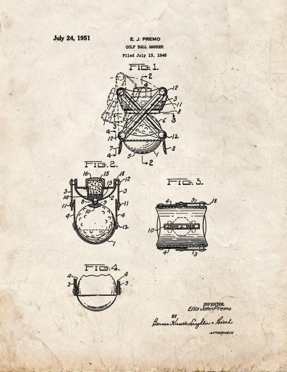 Golf Ball Marker Patent Print