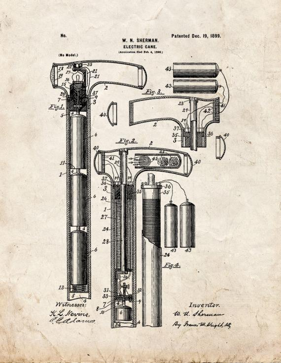 Electric Cane Patent Print