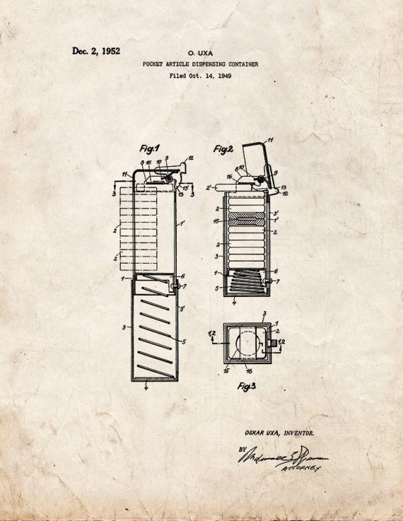 Pez Dispenser Patent Print