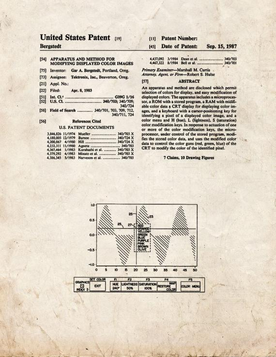 Modifying Displayed Color Images Patent Print