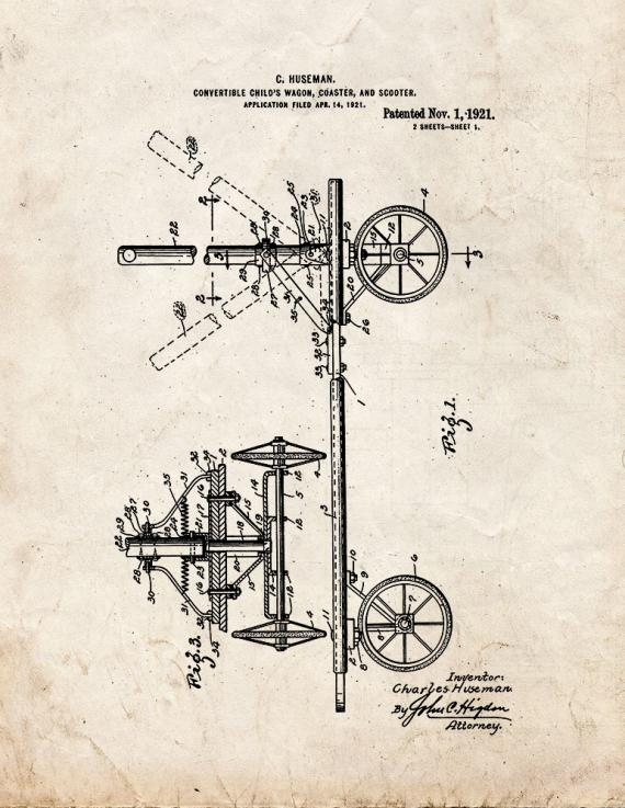 Convertible Child's Wagon, Coaster, And Scooter Patent Print