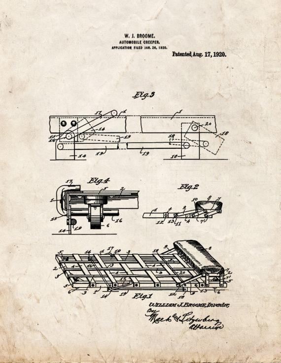 Automobile Creeper Patent Print