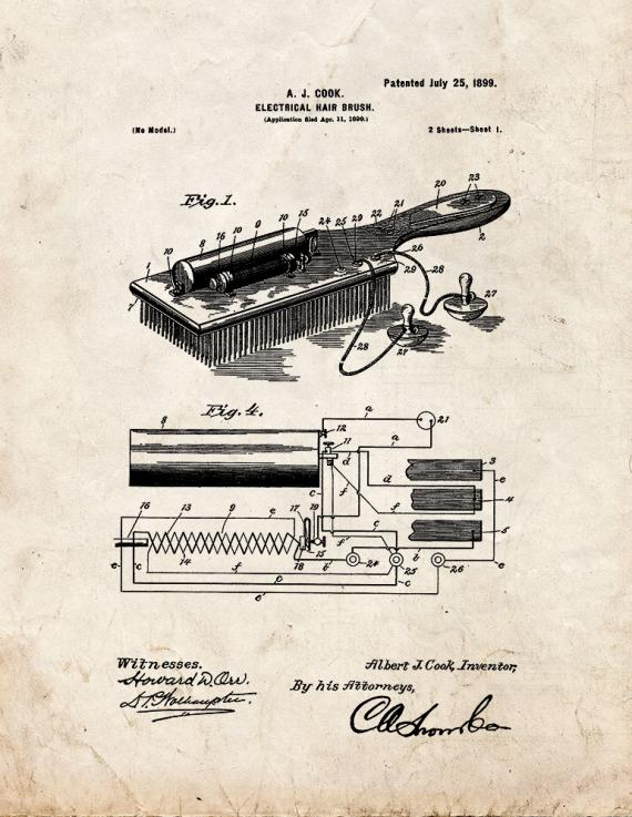 Electrical Hair-brush Patent Print