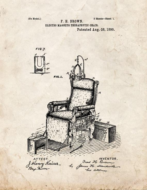 Electro Magneto Therapeutic Chair Patent Print