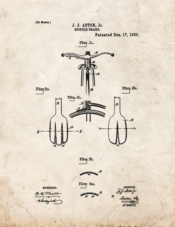 Bicycle Brake Patent Print