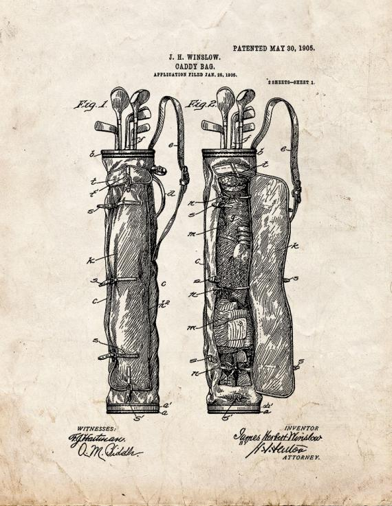 Golf Caddy Bag Patent Print