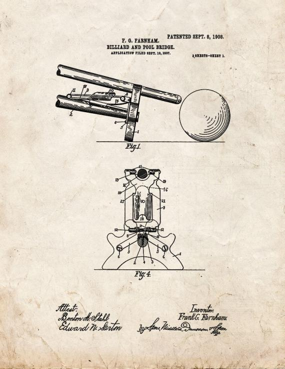 Billiard And Pool Bridge Patent Print