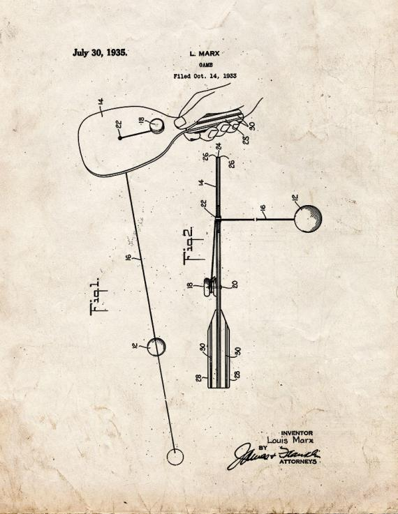 Paddle Ball Game Patent Print