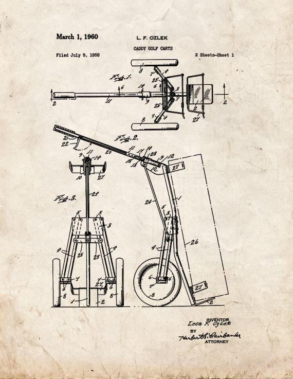Caddy Golf Carts Patent Print