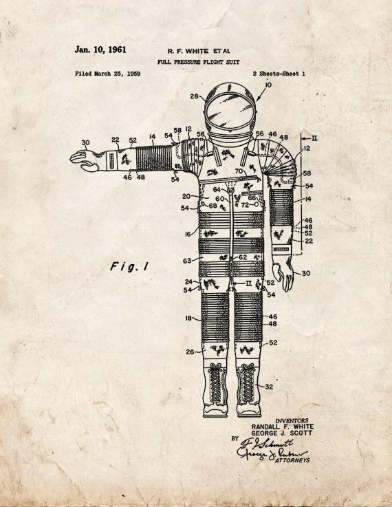 Full Pressure Flight Suit Patent Print