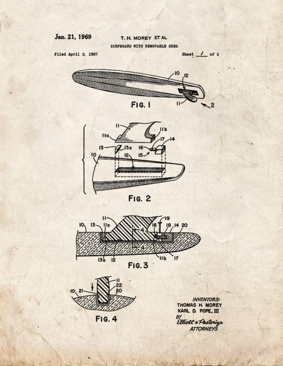 Surfboard With Removable Skeg Patent Print