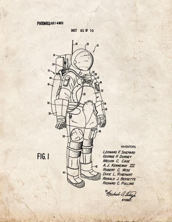 Space Suit Patent Print