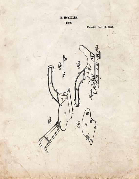 Cast-iron Plow Patent Print