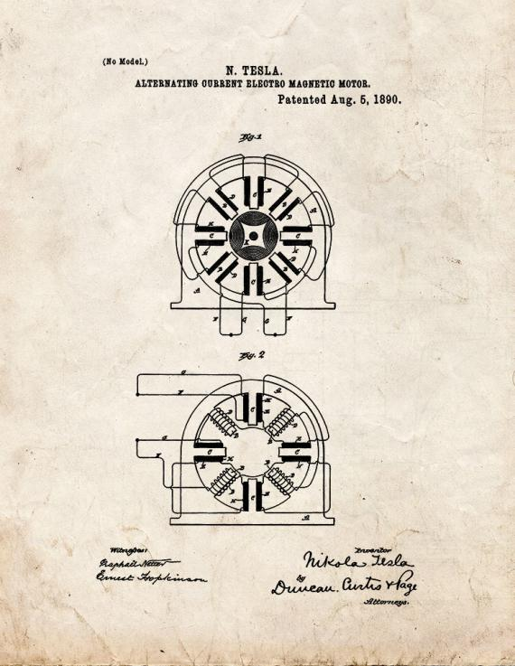 Alernating Current Electro-magnetic Motor Patent Print