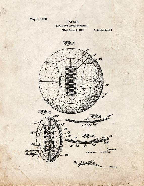 Lacing For Soccer Footballs Patent Print