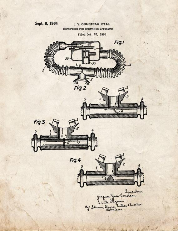 Jacques Cousteau Mouthpiece For Breathing Apparatus Patent Print