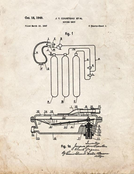 Jacques Cousteau Diving Unit Patent Print