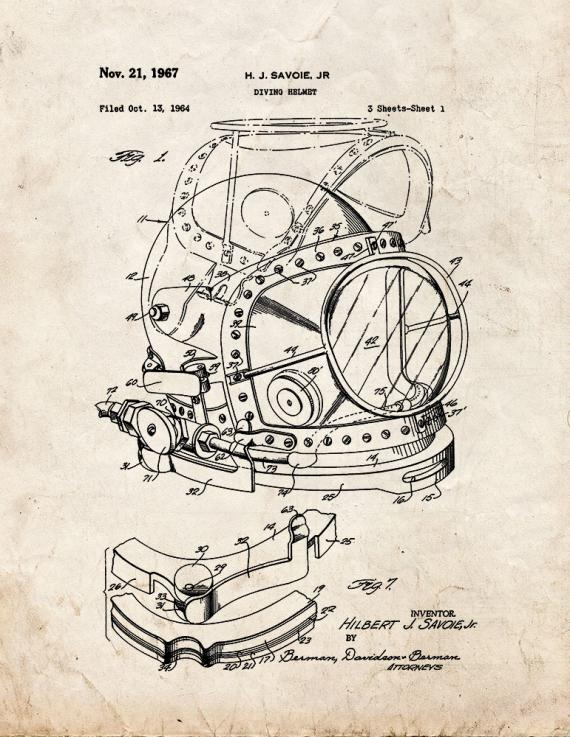 Diving Helmet Patent Print