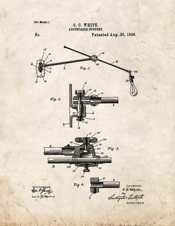 Adjustable Support Patent Print