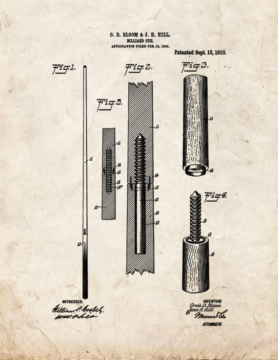 Billiard Cue Patent Print