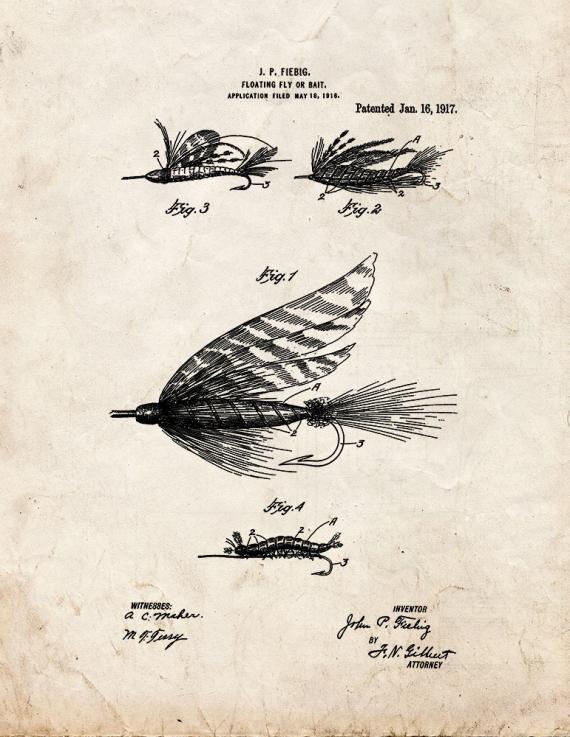 Floating Fly Or Bait Patent Print