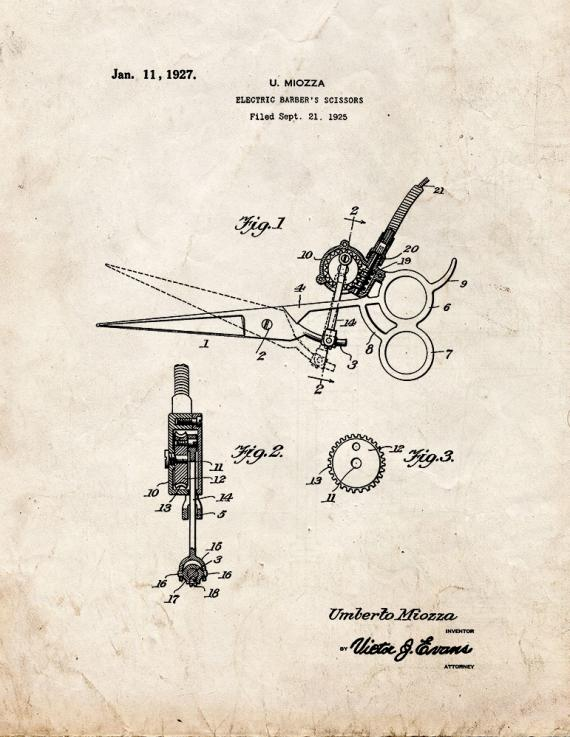 Electric Barber's Scissors Patent Print